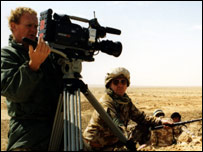 A cameraman and soundman