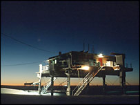 Halley base in darkness - courtesy British Antarctic Survey
