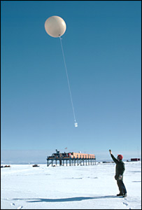 Meteorologists launch a weather balloon - courtesy British Antarctic Survey