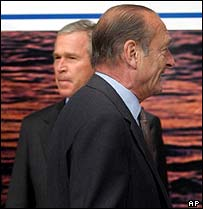 George W Bush and Jacques Chirac (in foreground) at the Nato summit