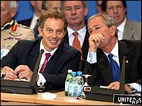 Tony Blair (left) and George W Bush