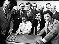 Angela Rippon with male newsreaders