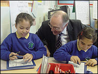 Mr Howard with pupils