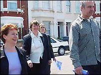 Hazel Blears (left) with Irene Sharp (centre) and Craig Lynn (right)