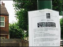 Dispersal notice in Bruce Road