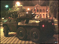 Armoured personnel carrier driven by rebel soldiers during the attempted coup in 2000
