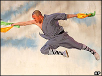 A Shaolin monk shows off his acrobatic skills