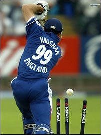 Vaughan was the second to fall in England's collapse