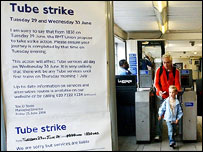Tube strike sign at Southfields station