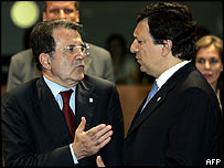 Romano Prodi (L) with