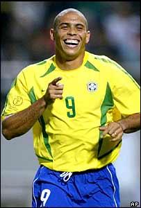 Ronaldo celebrates win against China at 2002 World Cup