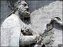 Damaged motif of St Peter at the Church of San Pietro di Castello
