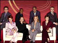 Dermot Murnaghan, Darren Jordon, George Alagiah and Huw Edwards; Natasha Kaplinsky, Anna Ford, Sophie Raworth and Fiona Bruce