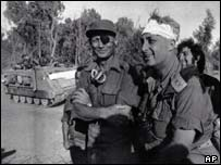 Defence Minister Moshe Dayan and major general Ariel Sharon