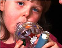 Image of an asthmatic girl using an inhaler