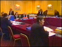 Evidence being taken at the Clywch inquiry