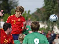 Gerard Pique in action for Spain Under-17s