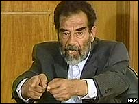 Saddam at court hearing