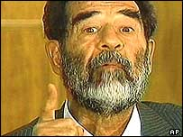 Footage of Saddam Hussein in court