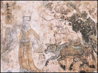 Detail from a mural in the Koguryo tombs (courtesy of Unesco/Icomos)