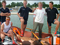 Tim Fitzhigh with the GB coxless fours crew of (from left): Steve Williams, Matthew Pinsent,  Alex Partridge and James Cracknell