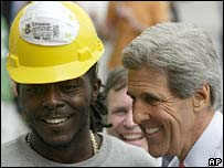 John Kerry and a Black worker