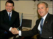 Jordan's King Abdullah and US President George W Bush, June 2004