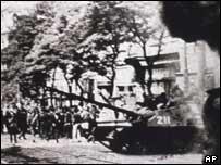 Soviet tank on the streets of Prague