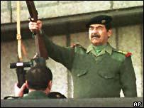 Saddam at military parade
