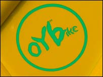 Close-up of Oybike logo, BBC