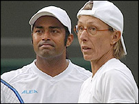 Leander Paes (left) and Martina Navratilova
