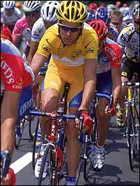 David Millar wears the yellow jersey on the second stage of the 2000 Tour de France