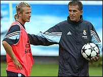 David Beckham (left) and Carlos Queiroz at Real Madrid