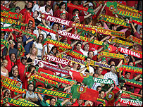 Portugal fans celebrate their side's victory over Greece