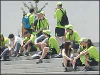 Volunteers gather at Euro 2004
