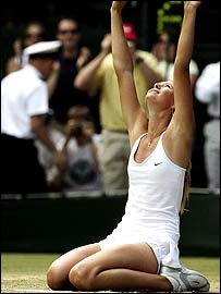 Sharapova celebrates her extraordinary win
