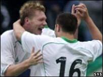 Garry O'Connor celebrates his equaliser