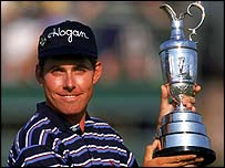 Justin Leonard with the Claret Jug in 1997