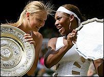 Maria Sharapova (left) and beaten Wimbledon finalist Serena Williams