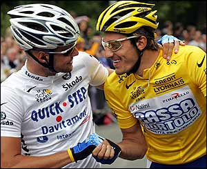 Belgium's Tom Boonen with Switzerland's Fabian Cancellara