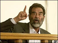 Saddam Hussein responds to the charges against him