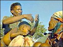 Kalahari bushmen in Botswana