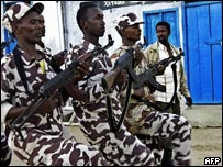 Members of a private militia train along the Somali-Kenyan border
