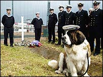 Memorial ceremony for Bamse the St Bernard