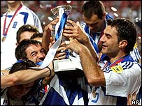 Greece's team celebrate their Euro 2004 victory