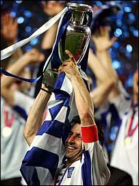 Greece celebrate after winning Euro 2004