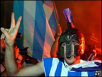 Greek fan in helmet