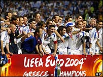 The Greek team celebrating after the match