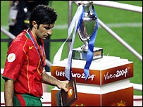 Luis Figo collects his runner-up medal