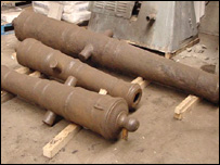 The historic cannon are being restored